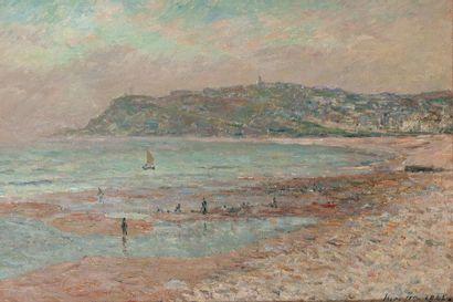 Maxime MAUFRA (1861-1918) La plage du Havre, marée basse, le matin, 1905 Huile sur...