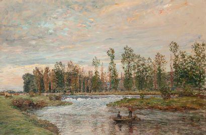 Charles de MEIXMORON de DOMBASLE (1839-1912) attribué à Bord de rivière avec barque...