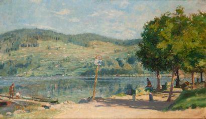 Charles de MEIXMORON de DOMBASLE (1839-1912) Matin sur le lac de Gérardmer Huile...
