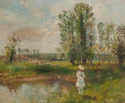 Charles de MEIXMORON de DOMBASLE (1839-1912) Fillette (Geneviève de Meixmoron) au...