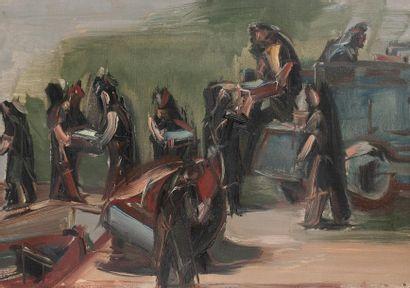Jean HELION (1904-1987) Les sardiniers, 1964 Huile sur toile monogrammée et datée...