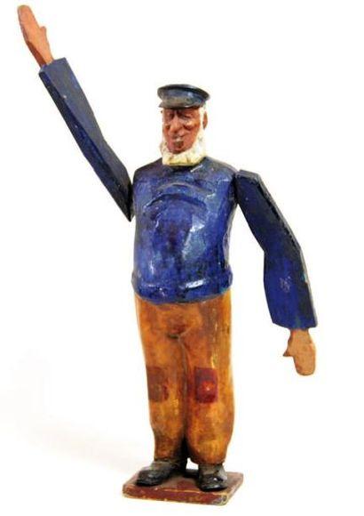 Girouette en bois sculpté et peint. Loup...