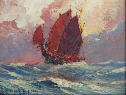 Robert DUMONT-DUPARC (1866-1930, nommé peintre officiel de la Marine en 1909) Huile...
