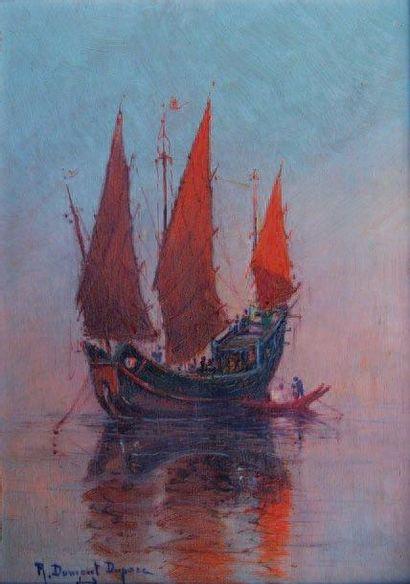 Robert DUMONT-DUPARC (1866-1930, nommé peintre officiel de la Marine en 1909) Jonque...
