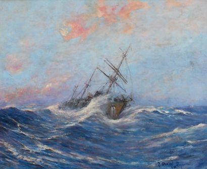 Robert DUMONT-DUPARC (1866-1930, nommé peintre officiel de la Marine en 1909) Trois-mâts...