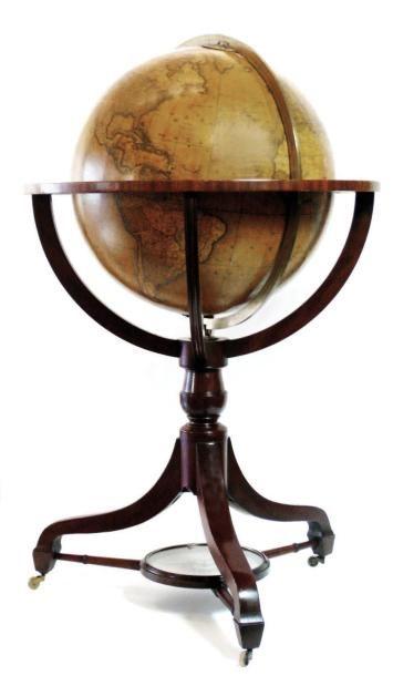 Globe terrestre de parquet. Sphère reposant...