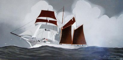 Léon HAFFNER (1881-1972. Nommé peintre officiel de la Marine en 1918)