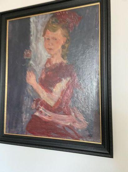 Joachim WEINGART (1895-1942/45) Jeune fille à la fleur Huile sur toile signée en...