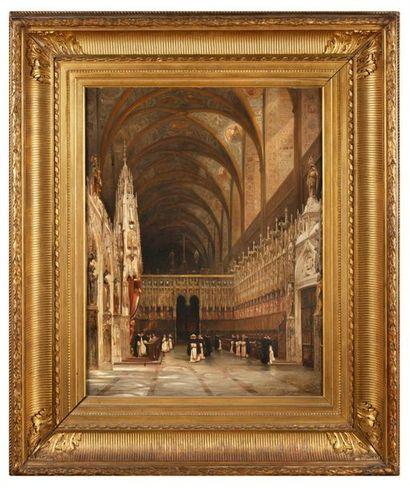 Adrien DAUZATS (1804-1868) Intérieur de la cathédrale Sainte Cécile d'Albi, 1834...