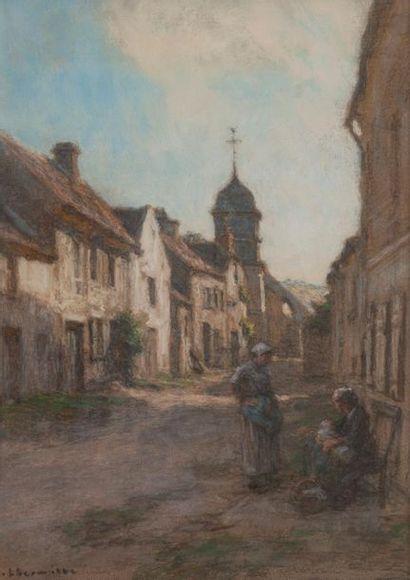 Léon LHERMITTE (1844-1925) Femmes et enfant conversant dans une rue Pastel signé...