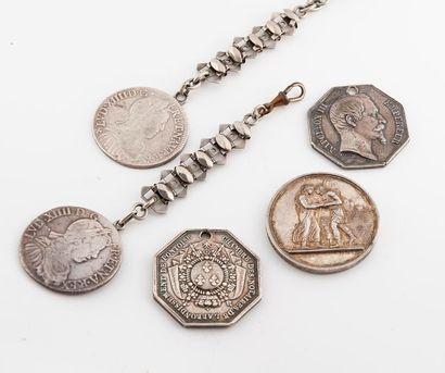 Lot en argent et métal comprenant deux pièces...