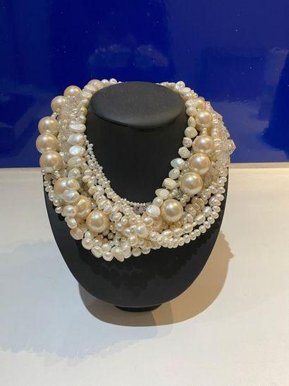 Collier draperie de rangs de perles fantaisie...