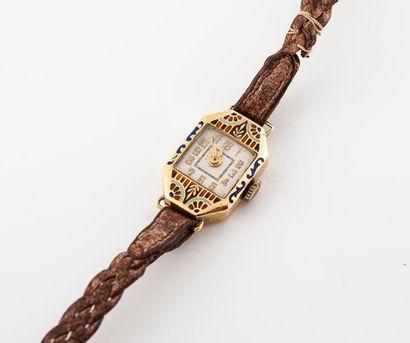 Bracelet montre de dame en or émaillé 750...