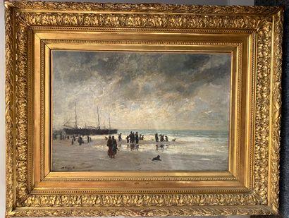 Auguste FEYEN PERRIN (1826-1888)  La pêche à pieds  Huile sur toile signée en bas...