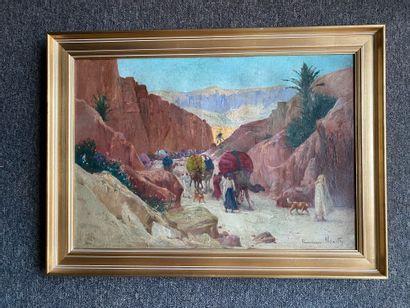 Francisque NOAILLY (1855-1942)  Caravane dans les gorges de la Chiffa  Huile sur...