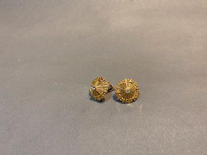 Paire de clips d'oreilles dôme en or 750...