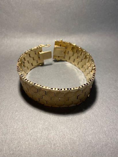 Bracelet maillons nid d'abeille texturé en...