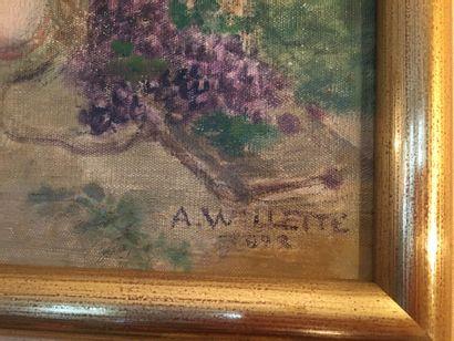 Adolphe Willette (1857-1926)  Jeux d'enfants.  Huile sur toile signée en bas à droite...