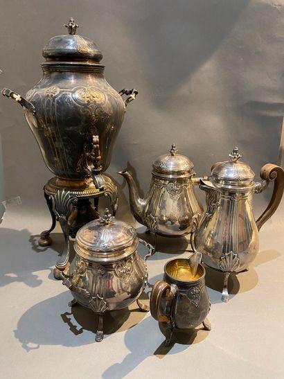 Service thé café en argent 950 °/°° comprenant...