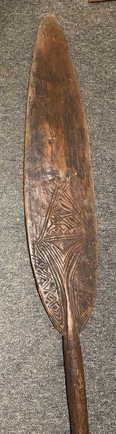 Palette de danse, Îles Trobriand Bois à patine brune L. 161,5 cm Ancienne collection...