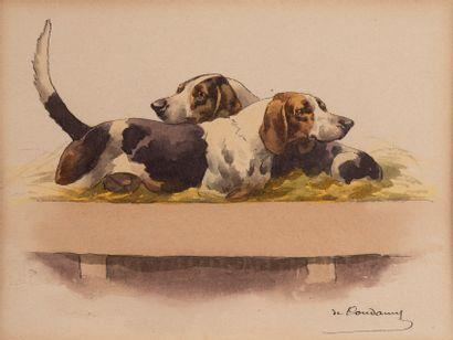 Charles de CONDAMY (1855-1913)  Bassets,...
