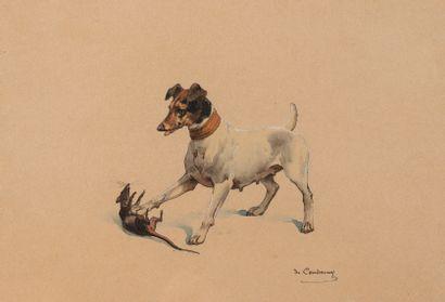 Charles de CONDAMY (1855-1913)  Fox jouant...