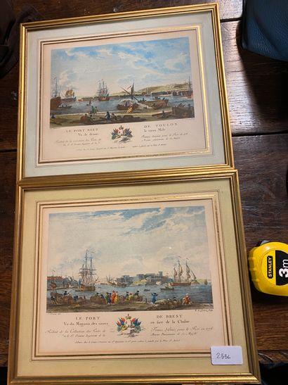 Port de Brest  Port de Toulon  2 gravures...