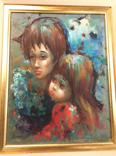 LOURENZO  Deux enfants  Huile sur toile signée...