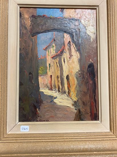 Charles CERMAK (1877-1966)  Ruelle  Huile...