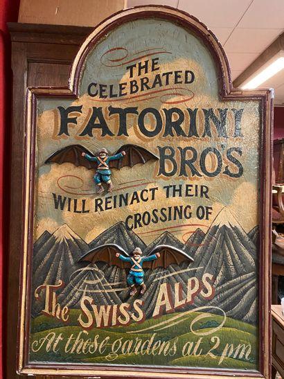 Fatorini bro's  Panneau publicitaire en bois...
