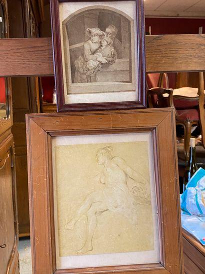 Femme nue  gravure encadrée : 35 x 30 cm....