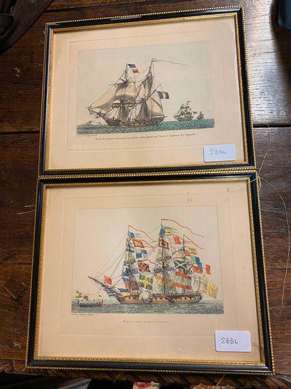 2 frégates françaises  2 gravures encadrées...