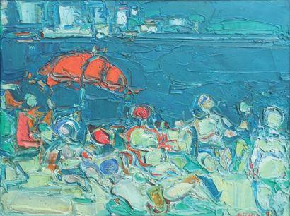 André COTTAVOZ (1922-2012) Plage du Parasol Rouge, 1969 Huile sur toile, signée en...