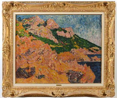 Louis VALTAT (1869-1952) Les rochers à Anthéor, 1906 Huile sur toile monogrammée...
