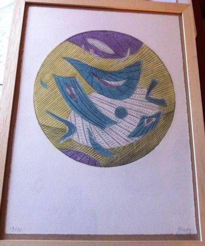 Henri GOETZ (1909-1989) « Composition » Lithographie...