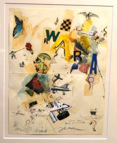 """Jean TINGUELY (1925-1991) """"Lettre à Warwara"""". Technique mixte. 30 x 22cm."""