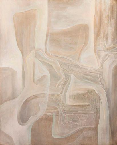 """Bernard SABY (1925-1975) """"Composition grise"""". Huile sur toile signée en bas à droite..."""