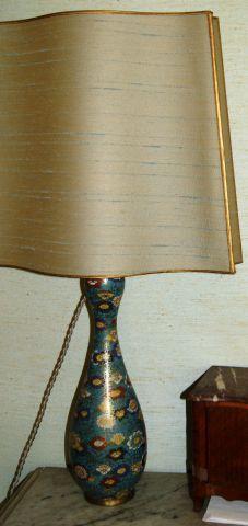 JAPON Paire de pieds de lampe en champlevé...