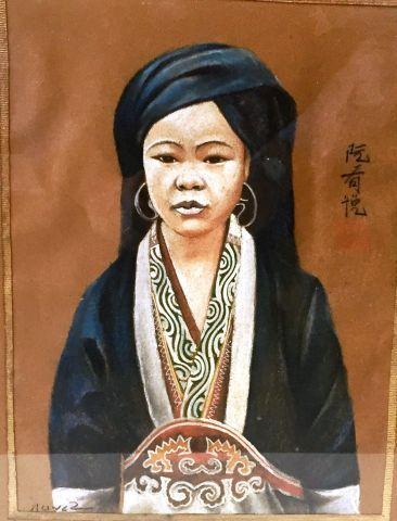 Peinture représentant probablement une jeune...