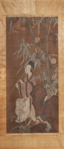 Peinture sur soie, à l'encre et polychromie,...