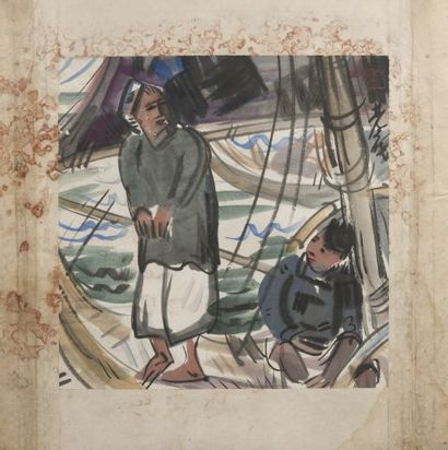 Lin FENGMIAN ??? (1900-1991) Les pêcheurs...