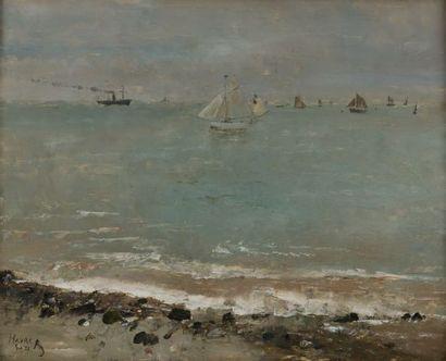 Alfred STEVENS (1823-1906) Le Havre Huile sur panneau Titrée, signée, datée en bas...