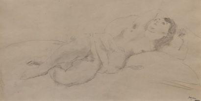 Jules PASCIN (1885-1930) Nu allongé. Dessin...