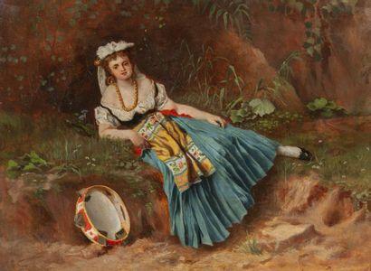 Francesco Vinéa (1845-1902) Jeune femme au...