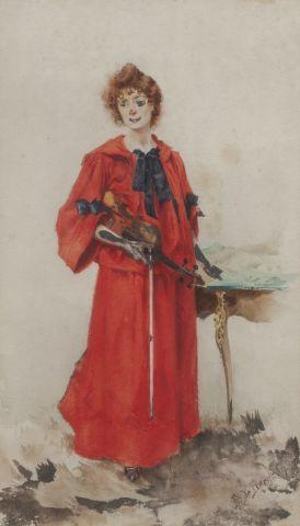 Edouard DE BERGEVIN (1861-1925) Femme au...