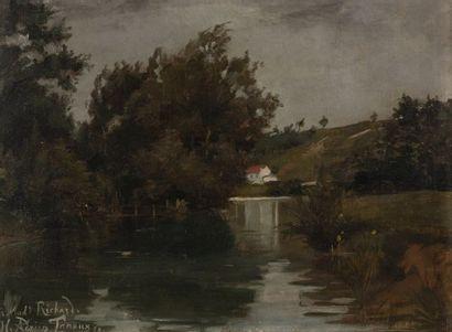 Adrien Henri TANOUX (XIXe) Paysage lacustre....