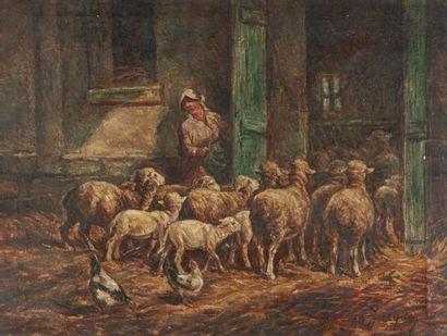 Ecole française du XIXe. La bergerie Huile...