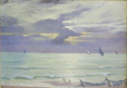 Georges BOISSELIER (1876-XXe) Marine Huile...