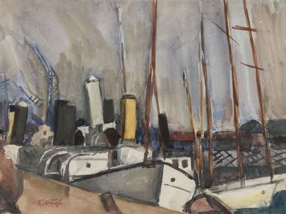 Edmond-Amédée HEUZE (1884-1967) Bateaux au...