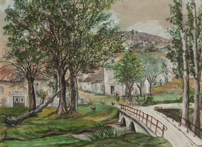 LU Pont devant un village, 1929 Aquarelle...